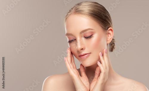 Fotografie, Obraz Beautiful young woman with clean fresh skin