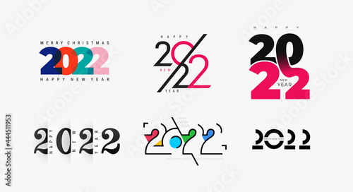 Canvas Print Set of creative concept logo design of 2022 Happy New Year posters