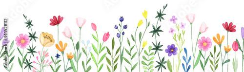 Obraz na plátně Watercolor floral seamless stripe