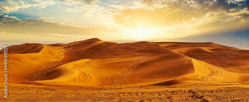 Fotografie, Obraz Golden Sand Dune Desert Landscape Panaroma