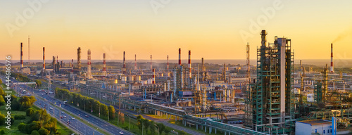 Tablou Canvas Aerial drone view of petrol industrial zone or oil refinery in Yaroslavl, Russia during sunset time