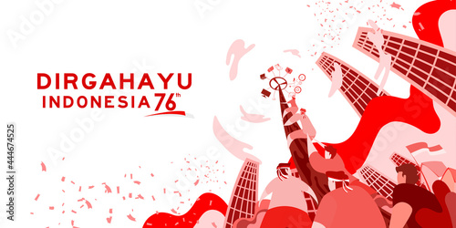 Obraz na plátne Indonesia independence day 17 august with traditional games concept illustration