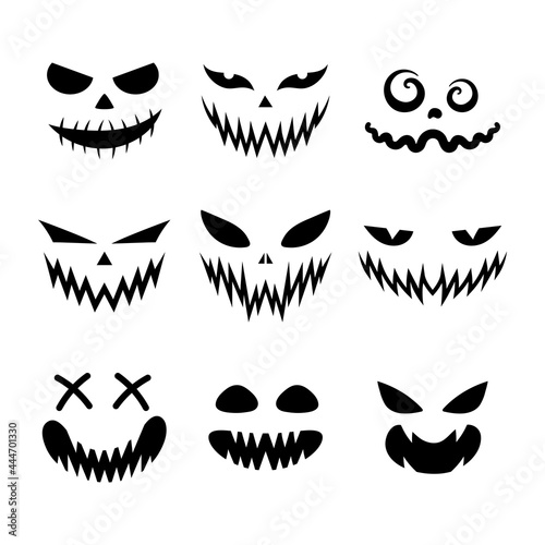 Fotografie, Obraz Set of scary and funny faces for Halloween pumpkin or ghost