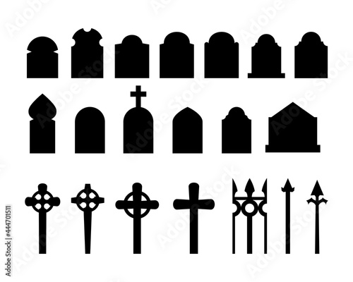 Fototapeta Set of black silhouettes of headstones, fences, crosses