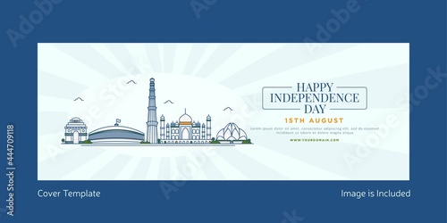 Fototapeta Happy independence day cover page template design.