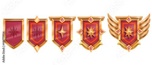 Photo Golden game badge, vector rank medal award set, medieval level up shield achievement, red crystal, wings