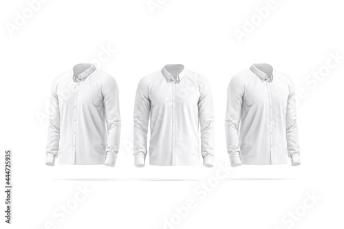 Blank white classic shirt mockup, front and side view Fototapet