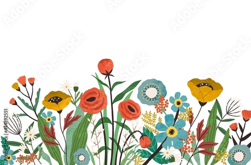 Botanical border with spring blooming flowers and leaves isolated on white background. Banner with floral decoration. Multicolor flowery edge. Colored flat textured vector illustration of wildflowers