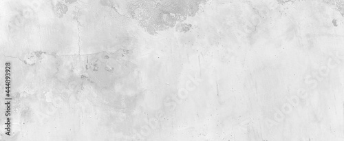 Panorama of Old cement wall painted white, peeling paint texture and background