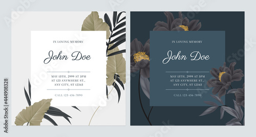 Obraz na plátně Floral memorial and funeral invitation card template design, bright and dark the