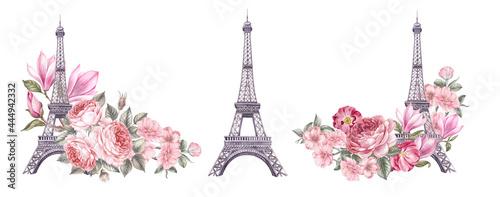 Fotografia Watercolor elements of the Eiffel tower