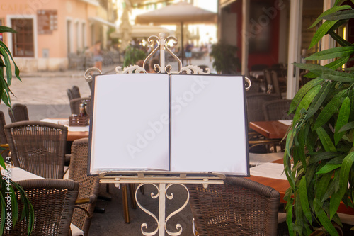Fotografie, Obraz empty menu in front of restaurant