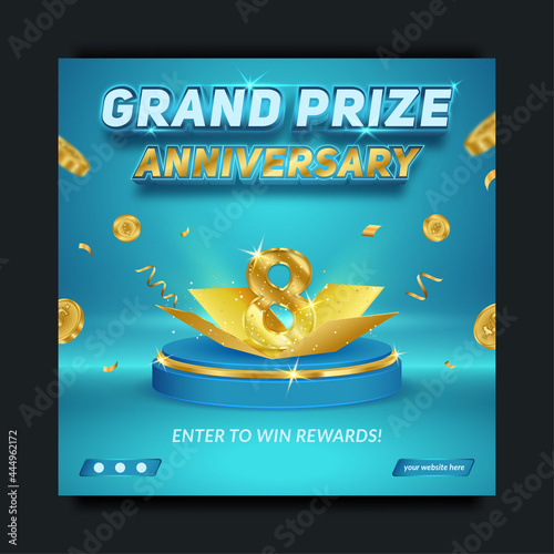 Photo Editable Grand prize anniversary blue and gold, social media banner template
