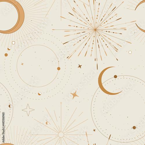 Photo Sun and moon tarot sign seamless pattern design , celestial frawing, gold print