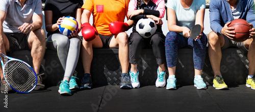 Slika na platnu Group of diverse athletes sitting together