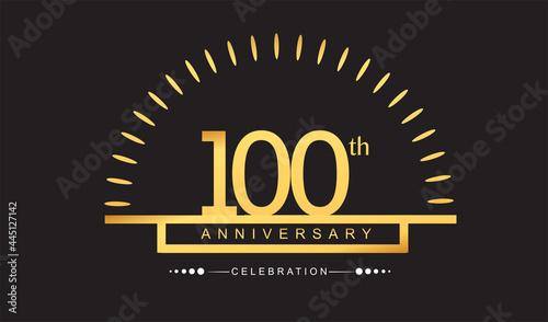 Billede på lærred 100th years golden anniversary logo celebration with firework elegant design for anniversary celebration