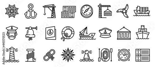 Fotografie, Obraz Marine port icons set