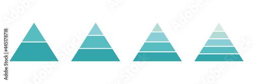 Obraz na plátně Pyramid infographic blue set