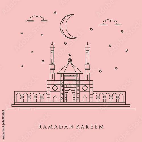 Fototapeta line art mosque landscape background symbol illustration design, eid mubarak bac