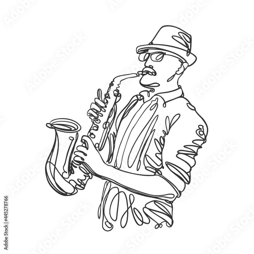 Wallpaper Mural Jazz saxophone player in linear style