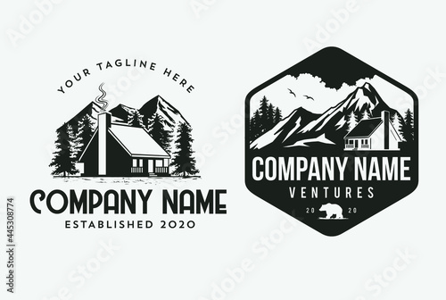 Valokuvatapetti Outdoor Cabin logo template for house rental companies and climber design