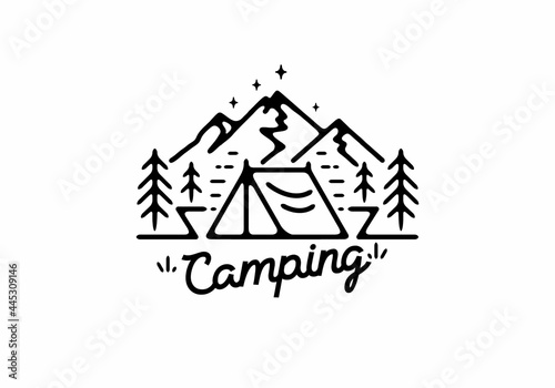 Fotografie, Obraz Black line art illustration of camping tent and mountain