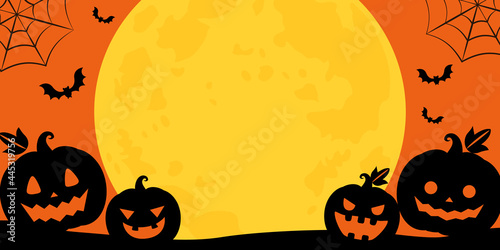 Fotografering ハロウィンの満月とかぼちゃランタンのベクターイラストフレーム背景