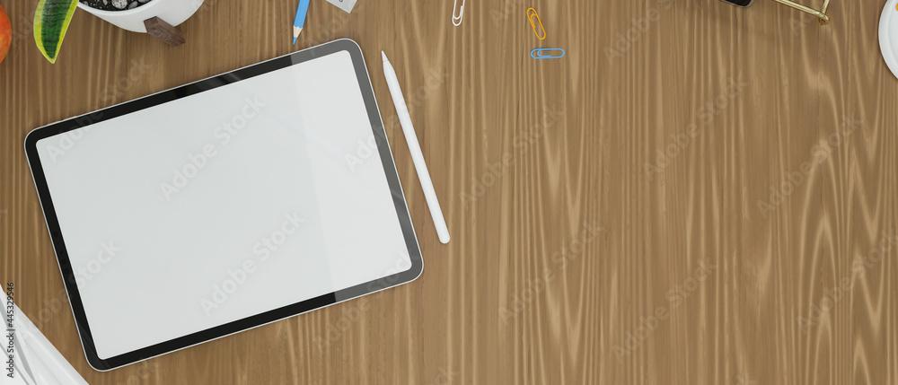 Leinwandbild Motiv - bongkarn : Tablet empty screen mock up with copy space on wooden table