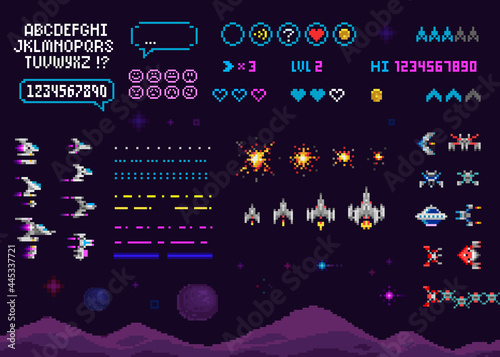 Fotografía Retro Pixel Art 8 bit arcade game creator set with font alphabet