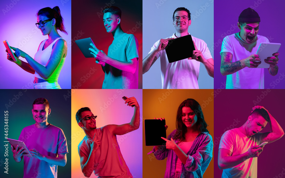 Leinwandbild Motiv - master1305 : Group of young girls and boys with digital devices isolated on colored background in neon light. Flyer, collage made of 8 models. Concept of emotions, facial expression, sales, ad. Vibrant colors