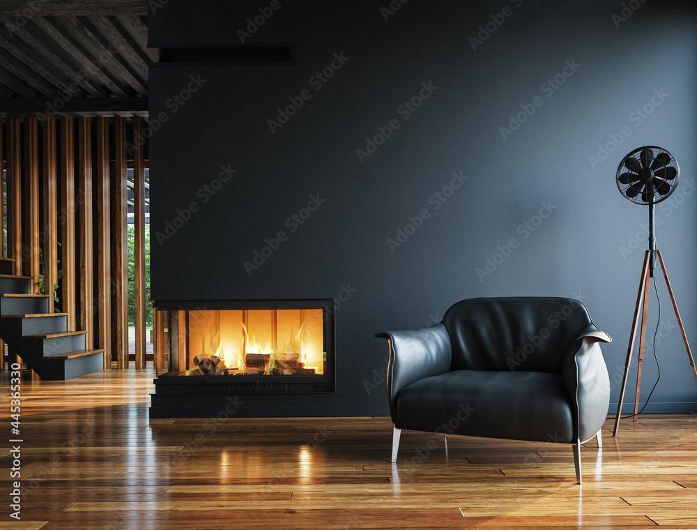 Leinwandbild Motiv - artjafara : Modern dark home interior background, wall mock up, 3d render