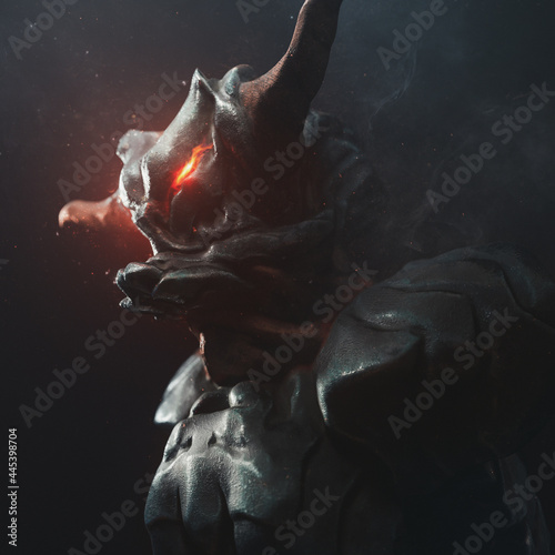 Fotografie, Obraz Portrait of an angry alien monster with horns and glowing red eyes in medieval metal armor