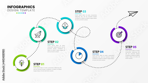 Fotografering Infographic design template. Timeline concept with 5 steps