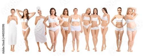 Fotografiet Group of body positive women on white background