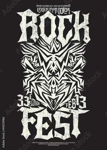 Hardcore Rock Fest design poster template Metal Festival post. Fototapeta