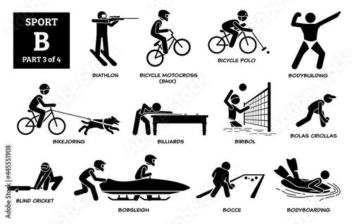Canvas Print Sport games alphabet B vector icons pictogram