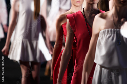Fotografie, Obraz Fashion Show, A Catwalk Event, Runway Show, Models Standing In A Row