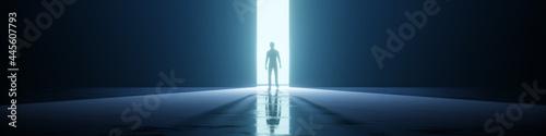 Foto man in a strange door light