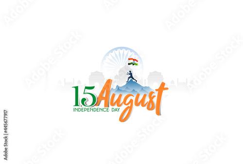 Fototapeta illustration of Famous Indian monument, Ashoka chakra, 15th August Happy Indepen