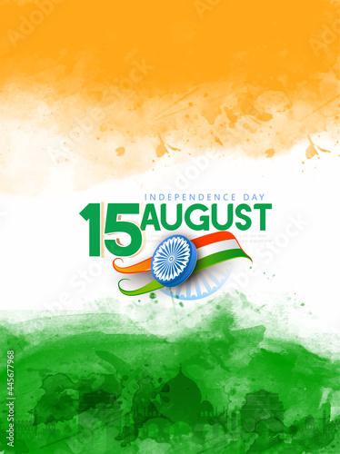 Obraz na płótnie illustration of Famous Indian monument, Ashoka chakra, 15th August Happy Indepen