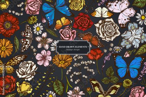 Fotografiet Floral design on dark background with shepherd's purse, heather, iris japonica,