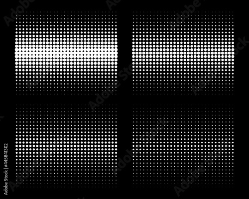 Wallpaper Mural Set of white vertical gradient halftone circle dots backgrounds