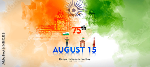 Fotografie, Obraz vector illustration of 15th August india Happy Independence Day.