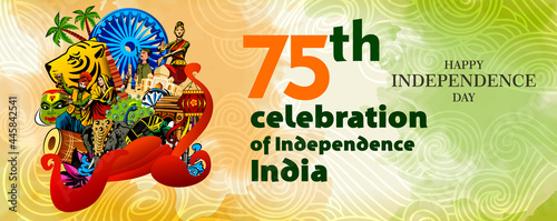 Fotografia, Obraz vector illustration of 15th August india Happy Independence Day.