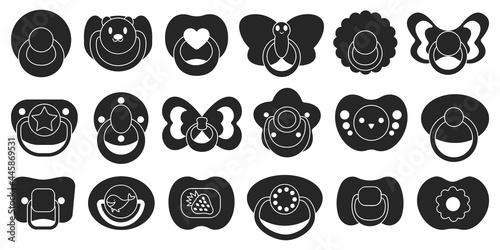 Vászonkép Pacifier isolated black set icon