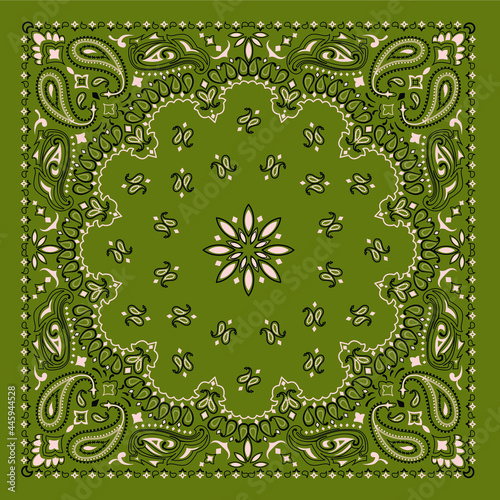 Murais de parede Olive Bandana Scarf ornament print with paisley and traditional patterns