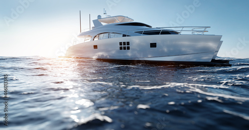 Catamaran motor yacht on the ocean Poster Mural XXL