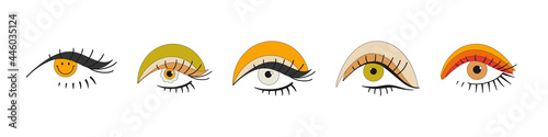 Fototapeta A set of eyes with bright makeup in the style of the 70s