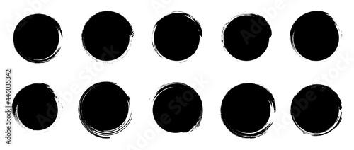 Obraz na plátně Set of grunge round shapes