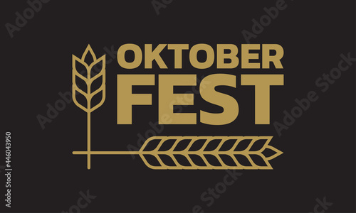 Canvas Oktoberfest logo, label or badge with typographic text and barley or wheat